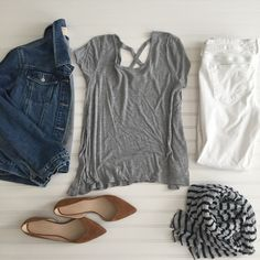 Denim jacket and White Skinny Jeans- Old Navy/ Grey X back Tshirt and Striped Scarf- Target/Caramel Suede Flats- DSW As the weather here in Florida slowly improves- (we are finally having highs in the 70's!) I find the need for layers, and this is a favorite everyday outfit- a cute grey t shirt with accent …