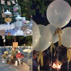 Country wedding with jars full of flowers, candles, ballons