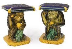 Two Mintons majolica monkey garden seats, circa 1860-82.