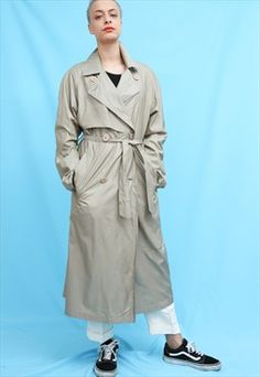 90s Vintage Sanyo Beige Rain Mac Trench Coat