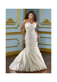 Wedding Dresses By Julietta featuring 3116 Lustrous satin with embroidery Colors Available: White/Silver, Ivory/Silver. Sizes Available: 16W- 32W.