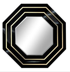 Gatsby Black Tie Octagonal Mirror. glamorous black lacquer in Hollywood style. DesignNashville Art Deco/ Hollywood Collection