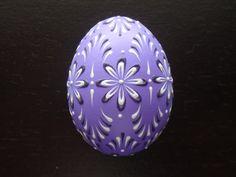 Easter Egg in Purple, Wax Embossed Real Chicken Egg, Folk Art - by Bo Langner - etsy.com