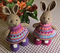 These bunnies were made to sit in two special Easter baskets. 108 stitches were cast on with a thinner fingering weight yarn for the full skirts. The fuller skirt was made following my usual season...
