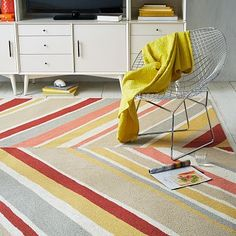 West Elm Canted Wool Rug - Salmon