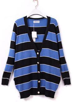 Blue Black Contrast Stripes Long Sleeve V-neck Cardigan