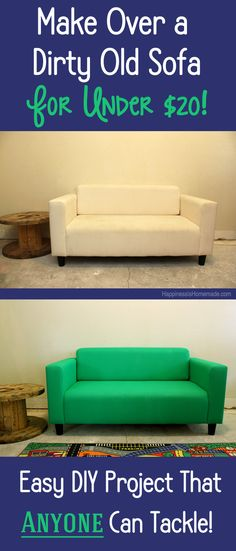 How to Easily Make Over a Couch With Paint for Under $20 - what a GREAT way to makeover old furniture (chairs, sofas, loveseats, ottomans, etc!) and give it new life!