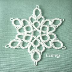 Tatted Lace Snowflake Christmas Ornament Curvy by SnappyTatter, $12.50