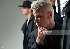 Model Nick Wooster poses at the Public School Presentation during New York Fashion Week: Mens S/S 2016 at Skylight Clarkson Sq on July 14, 2015 in New York City.