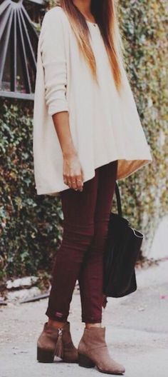 oversized top + burgundy jeans