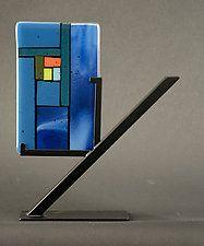 Mini Windows Blue by Vicky Kokolski and Meg Branzetti (Art Glass Sculpture)