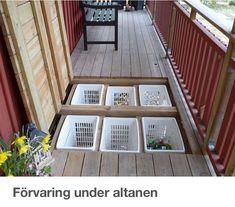 7 TIPS: Få endnu mere ud af din terrasse Opbevaring under terrassen Backyard Patio Designs, Backyard Landscaping, Diy Deck, Deck Plans, Decks And Porches, Building A Deck, Outdoor Living, Outdoor Decor, Outdoor Projects