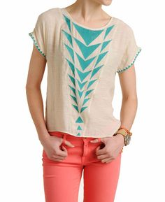 THML Short Sleeve Embroidered Boxy Top