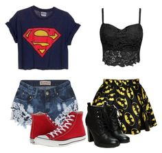 """Superman vs Batman"" by purpelleunicorn ❤ liked on Polyvore featuring Reverse and Converse"