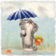 Discover & share this Animated GIF with everyone you know. GIPHY is how you search, share, discover, and create GIFs. Animal Painter, Rainy Saturday, Rainy Days, I Love Rain, Russian Painting, Autumn Scenes, Happy Art, Leaf Art, Cat Drawing