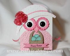 handmade Easter box topper/card ... shaped card .. pink and white ... lady owl with her Easter hat and basket of eggs ... super cute!!  ... tutorial available at carriestamps.com ... Stampin' Up!
