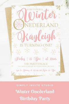 This Winter Onederland Birthday Invite is perfect for a little girls' birthday party. This easy to edit birthday party invitation will be a great addition to your little one's Winter Onederland Birthday Party Theme. First Birthday Parties, Birthday Party Themes, First Birthdays, Birthday Template, Winter Onederland, Winter Theme, Birthday Party Invitations, Pink And Gold, Invite