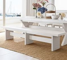 Modular Upholstered Banquette   Pottery Barn Farmhouse Dining Benches, Outdoor Dining, Modern Farmhouse, Dining Chairs, Dining Room, Furniture Slipcovers, Home Furniture, Outdoor Furniture, Office Storage Furniture
