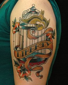 "Birdcage ""liberty"" tattoo by Russ Abbott Tattoos"