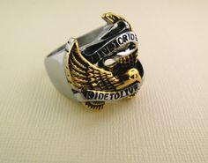 Mens Ring Steel Ring-Live To Ride Ring-Biker by MDBikerJewelry