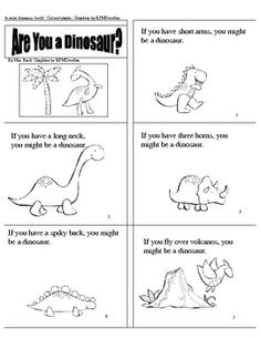 This mini-book has 9 pages of fun!  Each page makes the reader stop and compare themselves to a dinosaur.  Delightful black and white graphics by K...