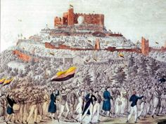 Procession to Hambach Castle during Hambach Festival, litograph about 1832 History Of Germany, Central Europe, Berlin, Backgrounds, Germany, Politics, Background Pics, Backdrops, Background Images