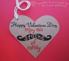 Mustache Valentine Goody Bag Tag Punny Heart Treat Bag Label Stache Retro