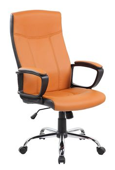 High Back Ergonomic Leather Computer Office Executive Desk Chair, Orange