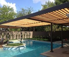 It is another unique and different design to make pool pergola over the swimming pool. People, who want to create some uniqueness in their pergola design… Diy Pergola, Small Pergola, Pergola Canopy, Wooden Pergola, Outdoor Pergola, Pergola Shade, Pergola Ideas, Wood Arbor, Small Patio