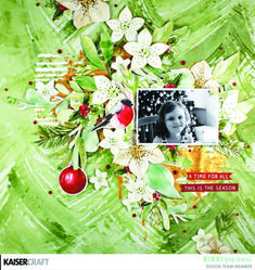 Everybody wants a little Peace and Joy - Kaisercraft Official Blog. 'A Time for All' Christmas Page by Design Team member Rikki Graziani featuring September 2018 'Peace and Joy' Collection using Paper P2611 Merry, and as she loves to do, she has fussy cut the flowers and foliage to create this gorgeous layered layout. For downloadable Instructions and more go to www.kaisercraft.com.au/blog ~ Wendy Schultz ~ Christmas Layouts.
