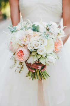 This Rustic Italian Olive Branch Winery Wedding from onelove photography and The Little Branch features peach and pink garden roses and proteas. Mod Wedding, Floral Wedding, Rustic Wedding, Wedding Flowers, Nautical Wedding, Summer Wedding Bouquets, Bridal Bouquets, Rustic Italian, Rose Bouquet