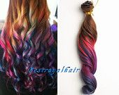Colorful Ombre hair extension, 18 Clips Full Head indian remy clip in Ombre Hair Extensions RHS248
