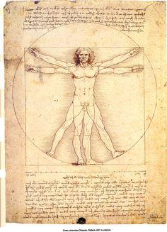 El hombre de Vitruvio, de Leonardo Da Vinci, es un estudio de las proporciones del cuerpo humano.