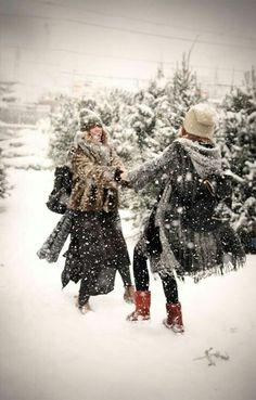 Snow ball fight at the Christmas tree farm.