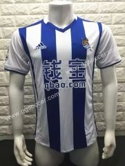2016-17 Real Sociedad Home Bule and White Thailand Soccer Jersey