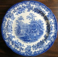 Blue and White Vintage English Transferware Plate Pastoral Scene with Roses Border | English Scene and Ware F.C. & Blue and White Vintage English Transferware Plate Pastoral Scene ...
