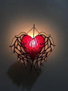 Stained Glass Heart with Wing Night light/Sun Catcher