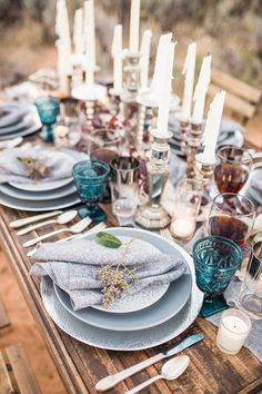 Captured beautifully by Hazel & Lace Photography at Tyler Rye's Zion Workshop, today's bohemian inspired, candlelit elopement . Zion National Park, National Parks, Beautiful Table Settings, Gray Weddings, Place Settings, Wedding Table, Table Decorations, Palette, Lavender