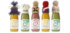 Innocent bottles with knitted hats