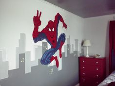 Cameretta spiderman ~ Batman spiderman mural by leslie michaels superheros murals