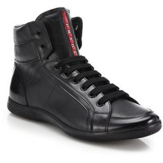 Prada Leather High-Top Sneakers (460 CAD) ❤ liked on Polyvore featuring men's fashion, men's shoes, men's sneakers, apparel & accessories, black, mens black leather shoes, mens black leather high top sneakers, mens leather sneakers, mens lace up shoes and mens black leather sneakers
