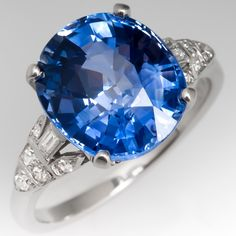 GIA 6.5 Carat Bright Icy Blue Sapphire Engagement Ring Vintage Platinum Setting