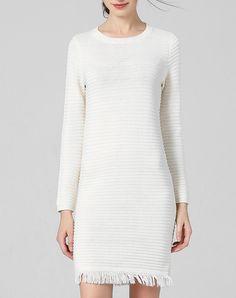 White Crew Neck Long Sleeve Knitted Mini Dress