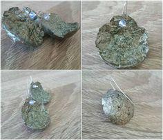 Paper mache earrings, moonstone, silver 925