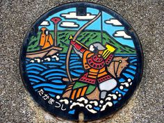 Manhole cover art-Japan