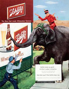 1951 Ad Schlitz Beer Milwaukee America Joseph Brewing Circus Elephant Policeman #vintage #elephant #schlitz