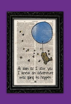 Love these, although I wish they were on pages of the stories they were from rather than the dictionary :o/ Winnie the Pooh As Soon As I Saw You Vintage by ThePurpleHamster, €7.00