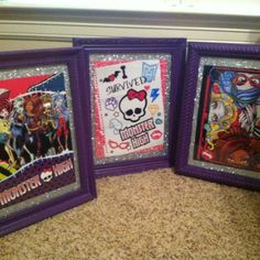 Monster High decor for bedroom ( DIY Dollar store frames painted & pictures cut out from calendar or MH doll boxes)