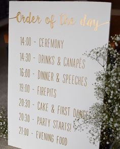 Order of the Day hand painted wooden sign. Wedding sign. https://www.etsy.com/uk/listing/470098831/personalised-order-of-the-day-hand?ref=shop_home_active_3