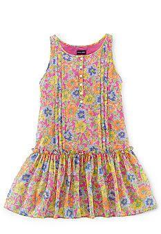 Ralph Lauren Childrenswear Drop Waist Floral Dress Girls 7-16